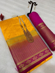 Pretty Yellow And Pink Color Kanjivarm Designer Saree
