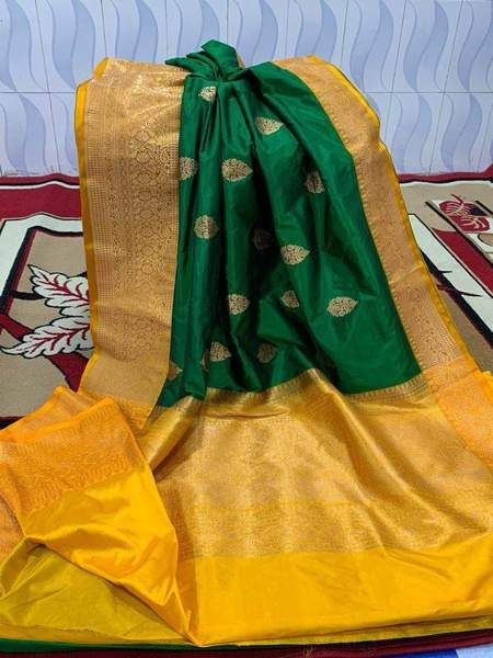Latest Green And Yellow Color Designer Silk Saree