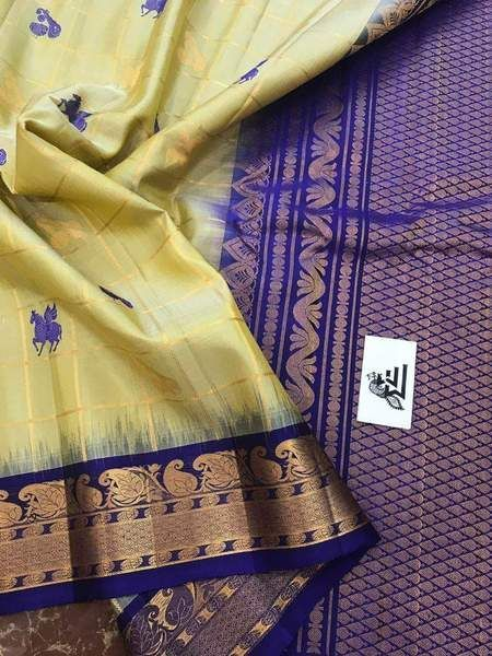 Adhesivbe Yellow And Blue Color Designer Saree