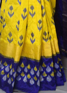 Captivating Yellow and Blue Color Designer Saree