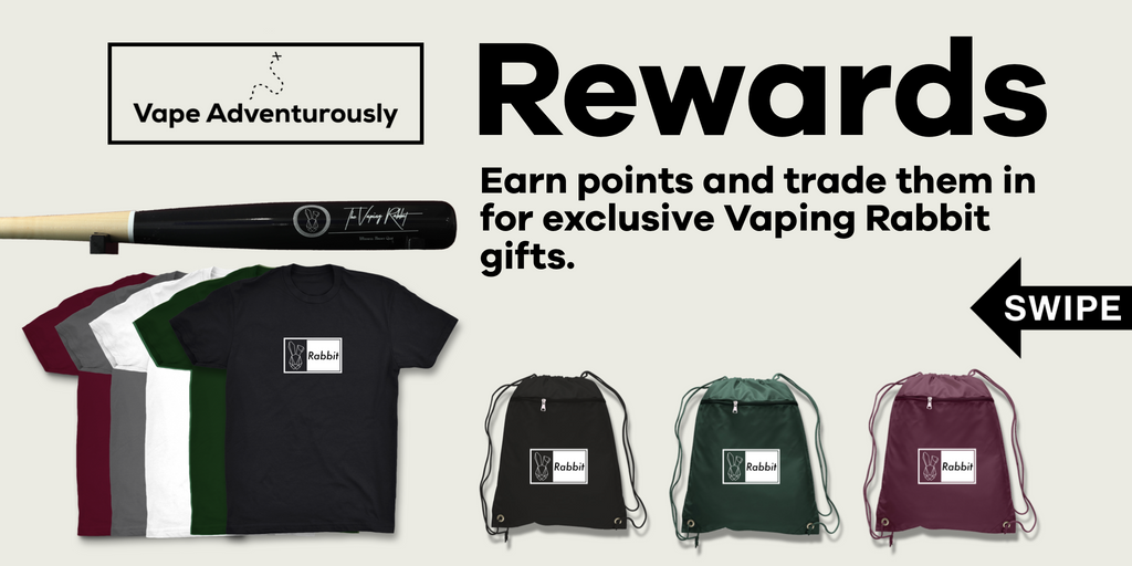The Vaping Rabbit Eliquid Rewards program. Vape adventurously. Vaping Rabbit Rewards. Vaping Rabbit shirts. free stuff.The Vaping Rabbit | Vape Adventurously Awards | Exclusive Gifts  Vaping Rabbit | Earn Points | Redeem for gifts | Exclusive