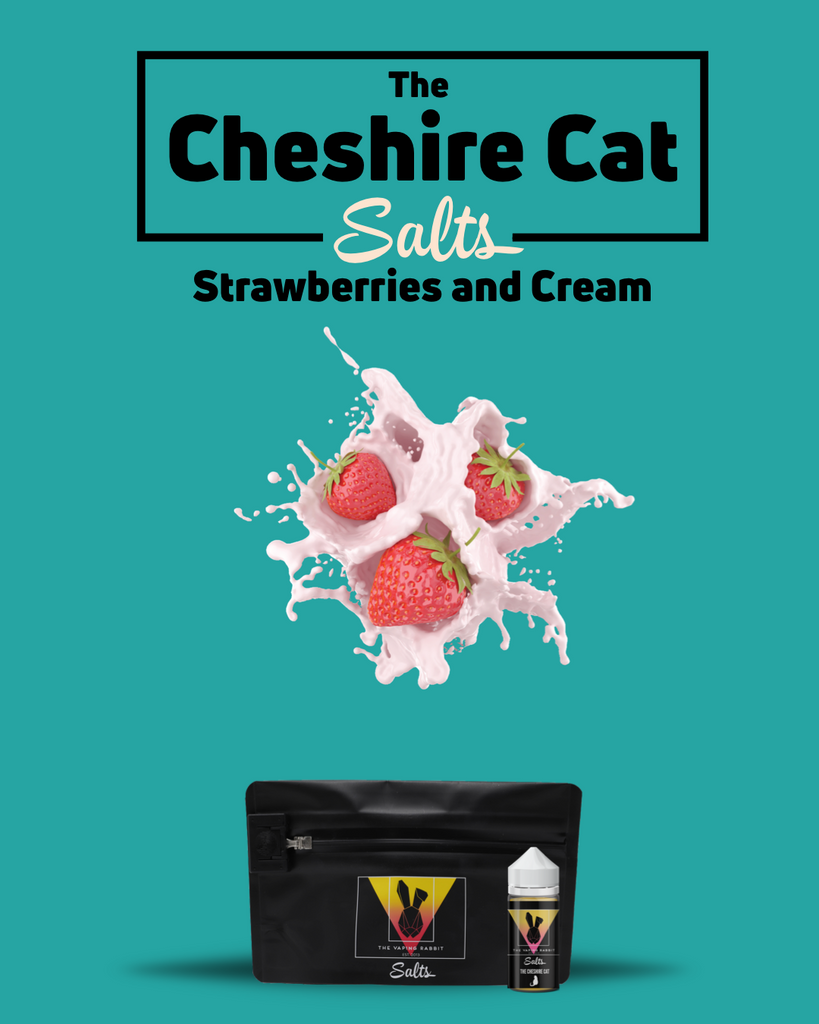 Vaping Rabbit Nicotine Salt E-Liquid The Vaping Rabbit Eliquid Salts. The Cheshire Cat salts. Strawberries and cream flavor. Vaping Rabbit 100ml Milk