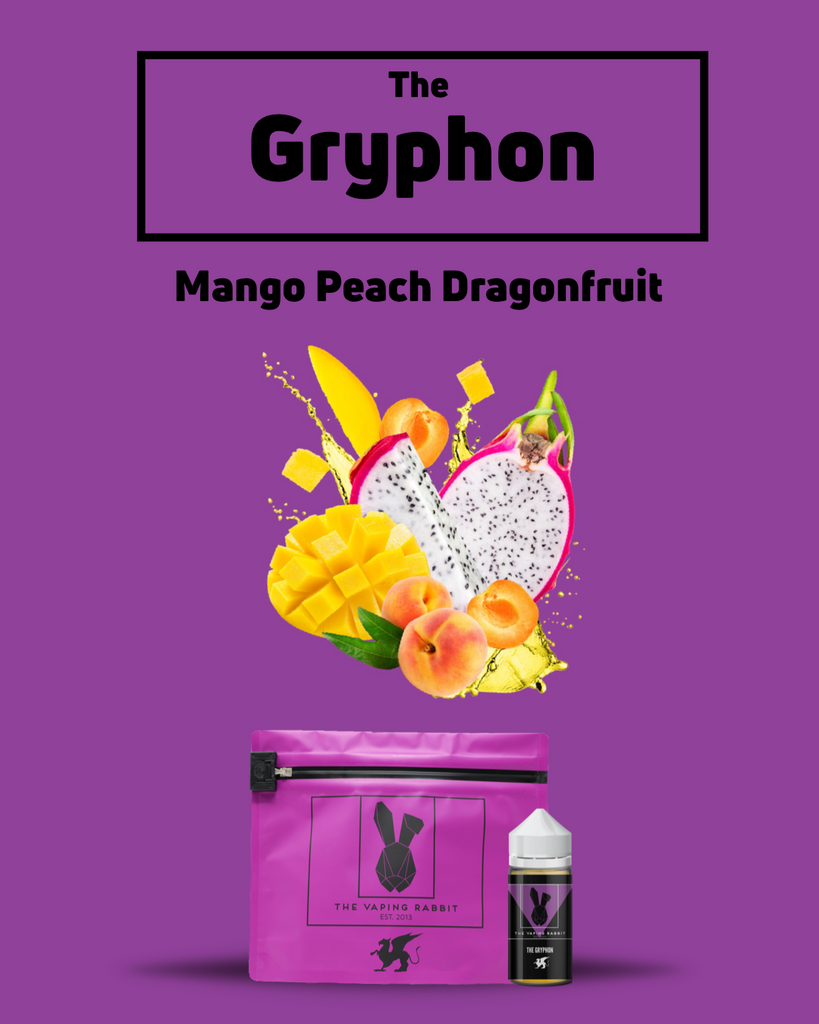 The Vaping Rabbit Eliquid. The Gryphon mango peach dragonfruit flavor. Fruit flavor. Vaping Rabbit 100ml Milk