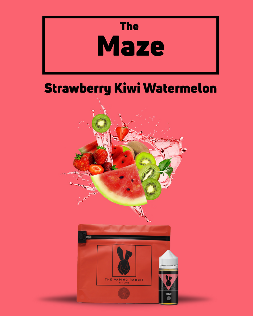 The Vaping Rabbit Eliquid The Maze strawberry watermelon kiwi flavor. Fruit Flavor.  Vaping Rabbit 100ml.