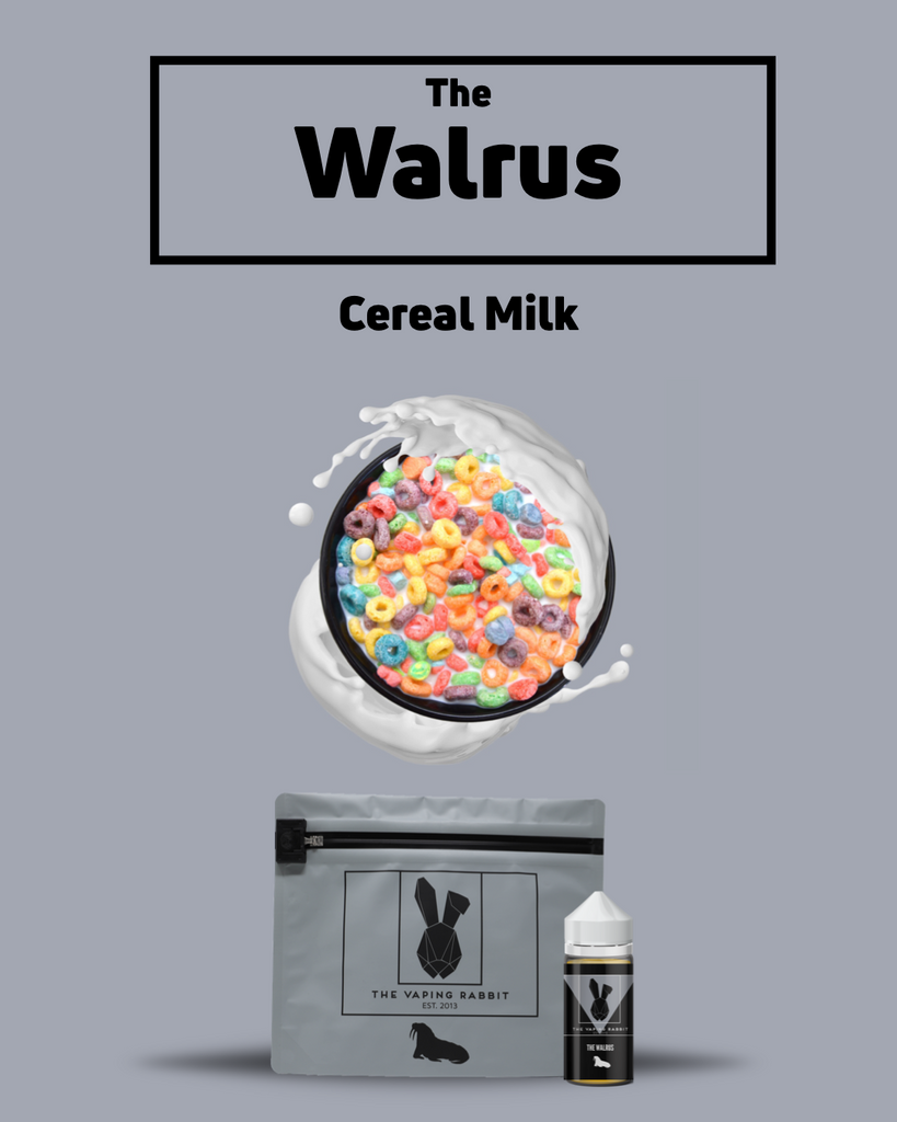 The Vaping Rabbit Eliquid The Walrus cereal milk flavor. Vaping Rabbit 100ml
