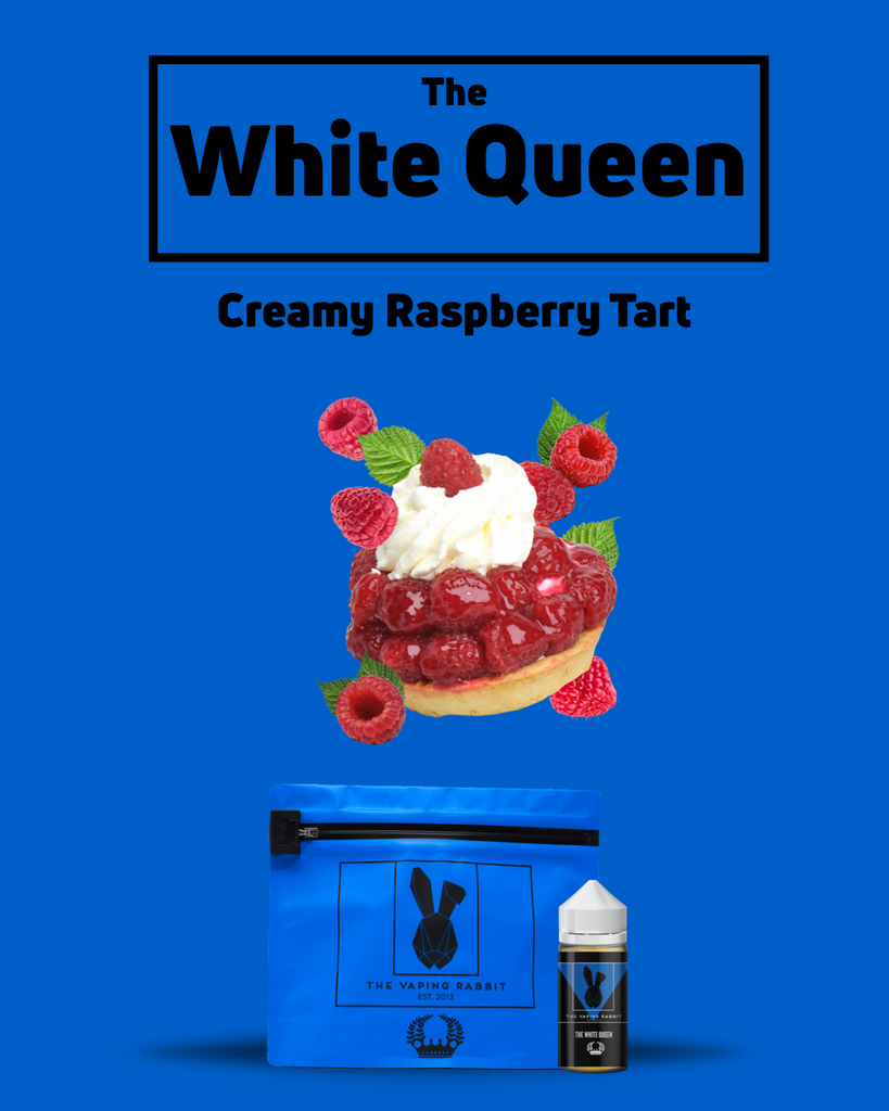 The Vaping Rabbit Eliquid. The White Queen creamy raspberry tart. Dessert flavor. Vaping Rabbit 100ml Milk