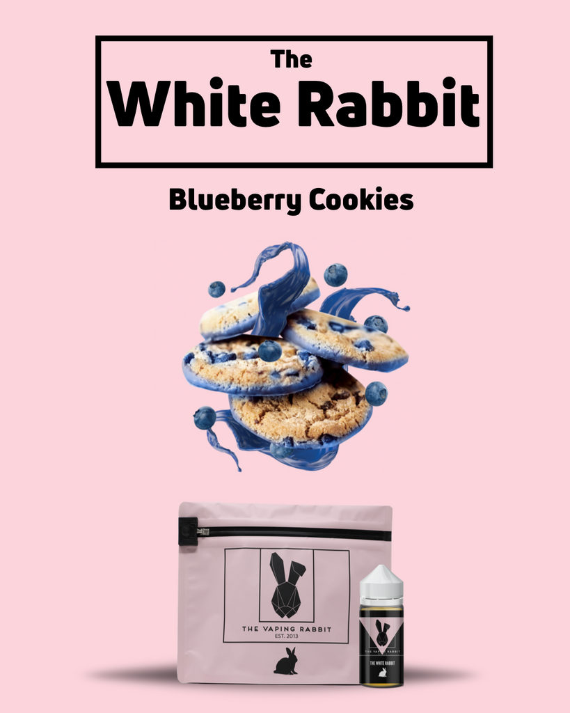 The Vaping Rabbit Eliquid. The White Rabbit blueberry cookies flavor. Original flavor Vaping Rabbit 100ml Milk