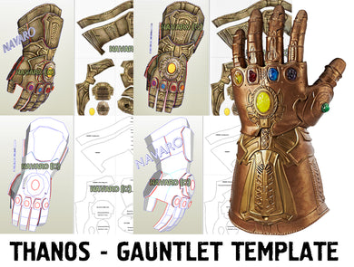 Thanos Gauntlet (Foam Template) - Thanos Gauntlet Pepakura - Printable PDF - Thanos Cosplay + Bonus Thanos Sword Template - Thanos Endgame