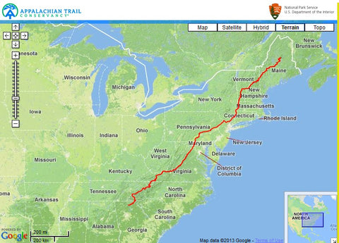 Map of the Appalachian Trail