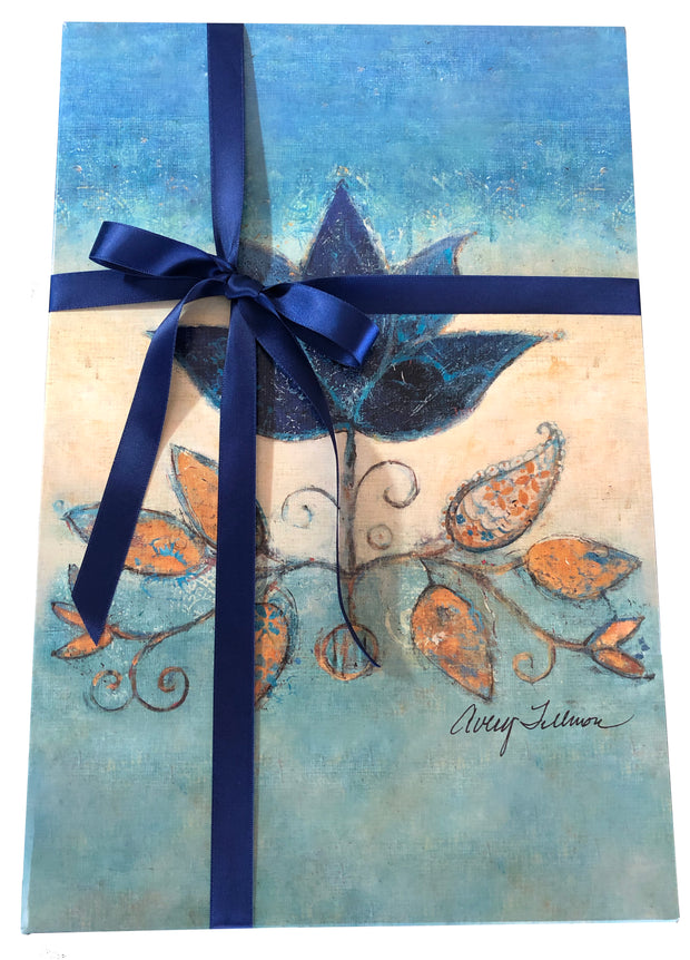 Gift ribbon accentuates the art work.