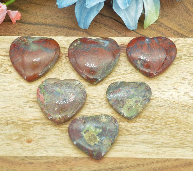 Indonesian Moss Agate Hearts