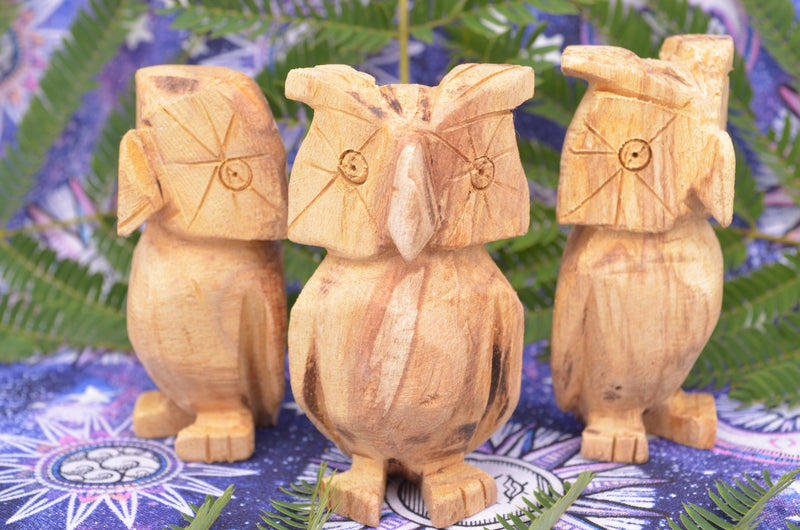 Sacred Palo Santo Carved Owls for Wise Guidance