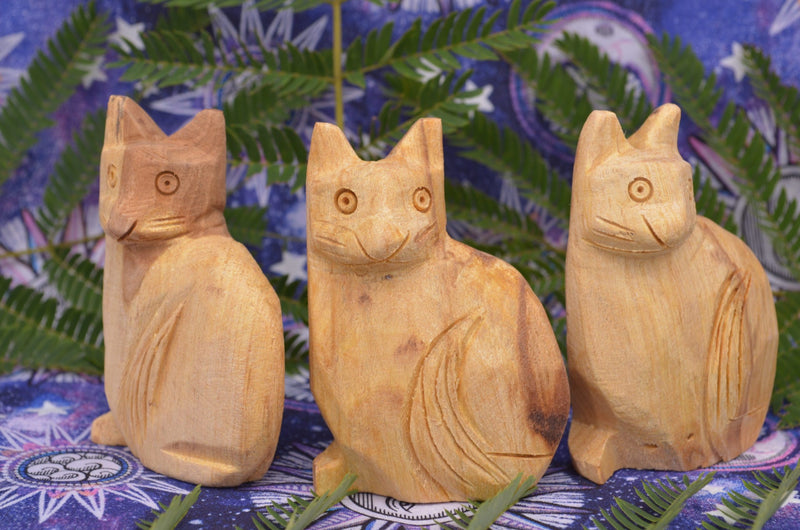 Sacred Palo Santo Carved Cats for Magic & Happiness