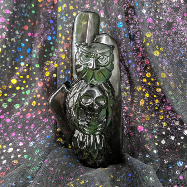 Rainbow Obsidian Owl and Skull Totem Carving #1