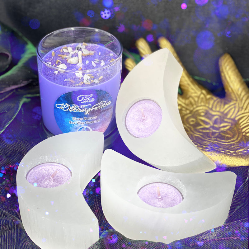 Selenite Crescent Moon Tealight Candle Holder
