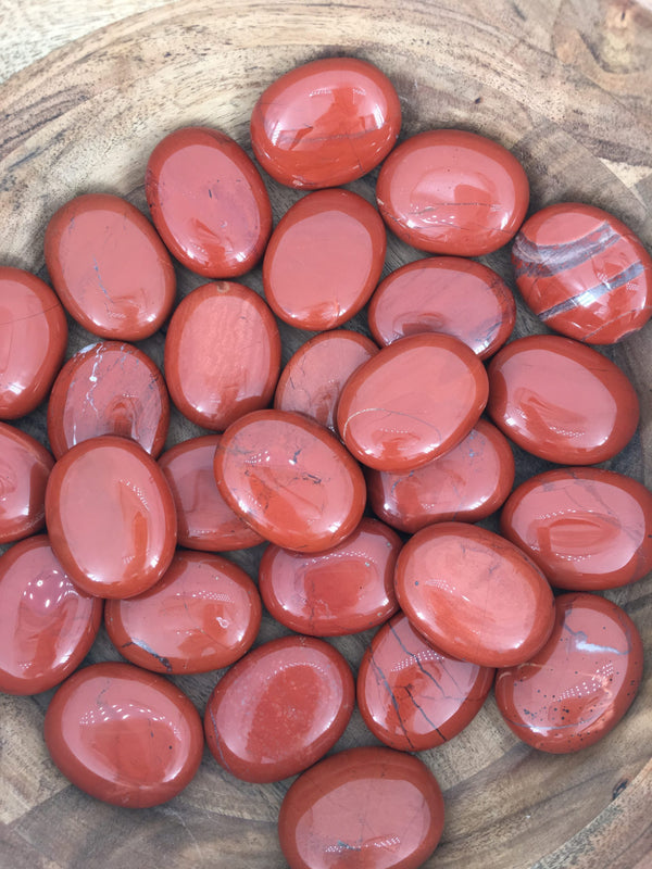 Red Jasper Pillow Palm Stones for Battling Tough Situations & Dream Recall