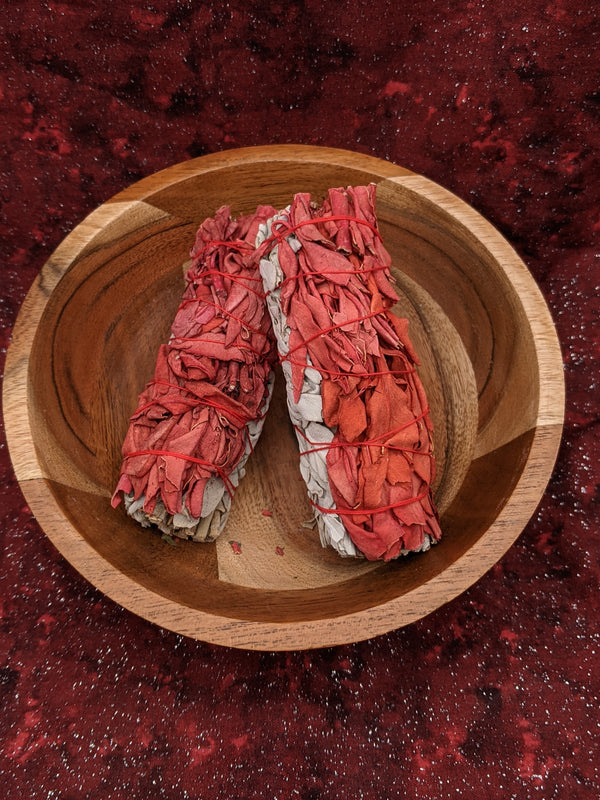 White Sage with Red Sage Smudge Sticks