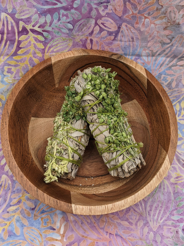 White Sage with Green Mullein Smudge Sticks