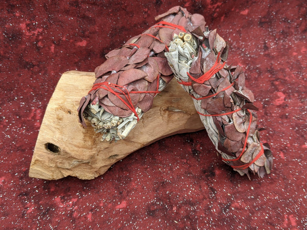 Red and White Sage Smudge Stick