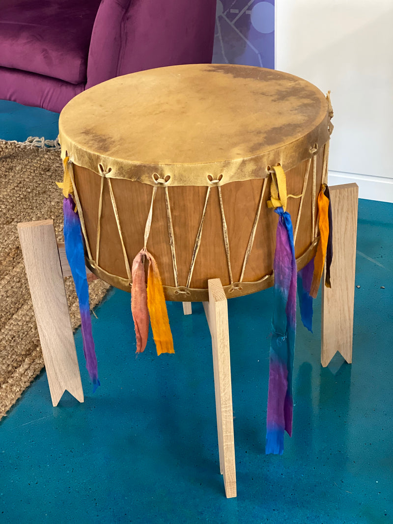 18 Inch Ceremonial Buffalo Drum with Stand & Striker