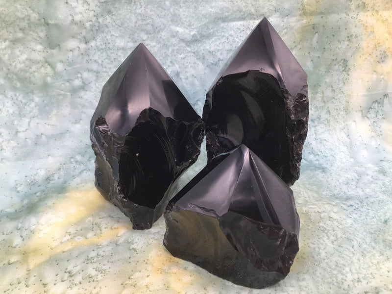 Black Obsidian Rough Top Polished Point