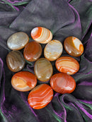Banded Carnelian Pillow Palm Stones