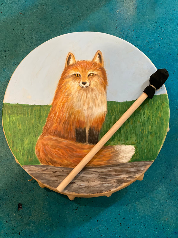 18 Inch Shamanic Fox Cow Drum