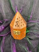 Temple Tower Wooden Incense Burner
