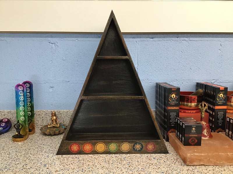 Chakra Crystal Pyramid Shelf (Wooden)