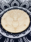 Wooden Etched Deer Crystal Grid