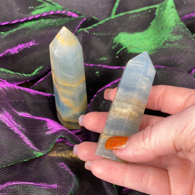 Lemurian Blue Onyx Aquatine Calcite Tower (Medium)
