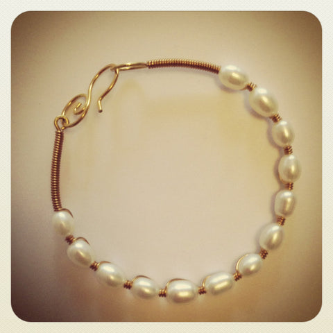 Sacred Stone Bangle- Pearl