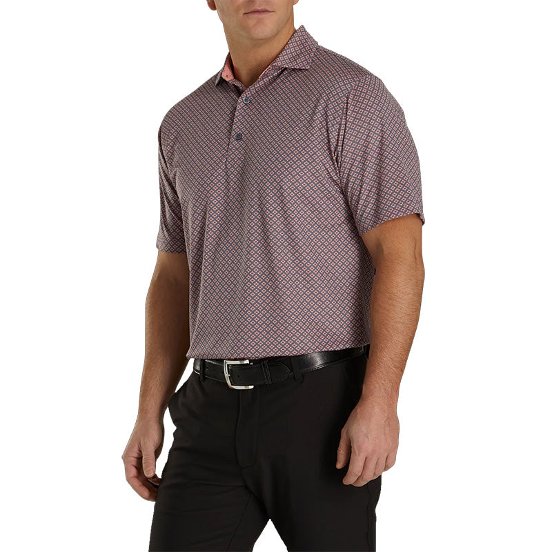 Footjoy Lisle Ogee Print Spread Collar - Previous Season Style - Slate/White/Coral