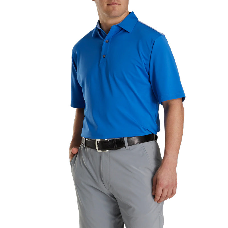 Footjoy Lisle Solid 4 Dot Jacquard Yoke Self Collar Polo - Previous Season Style - Royal Blue