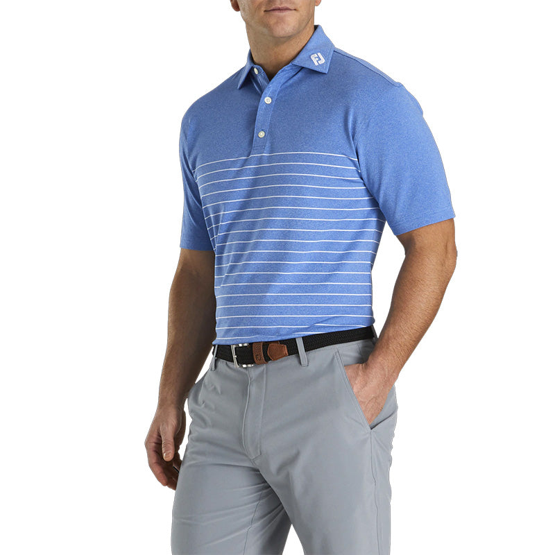 Footjoy Lisle Engineered Pinstripe Self Collar Polo- Previous Season Style