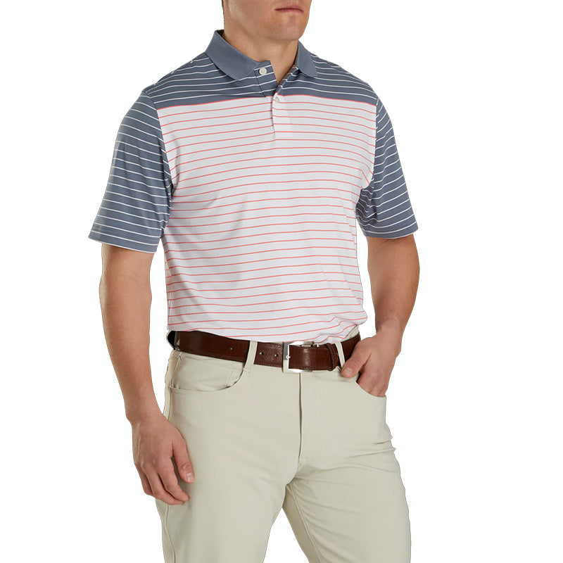 Footjoy Lisle Colour Block Stripe Knit Collar - Previous Season Style - Slate/White/Coral