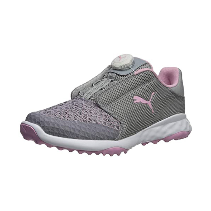 Puma Junior Grip Fusion Sport Disc Golf Shoes - Quarry/Pink