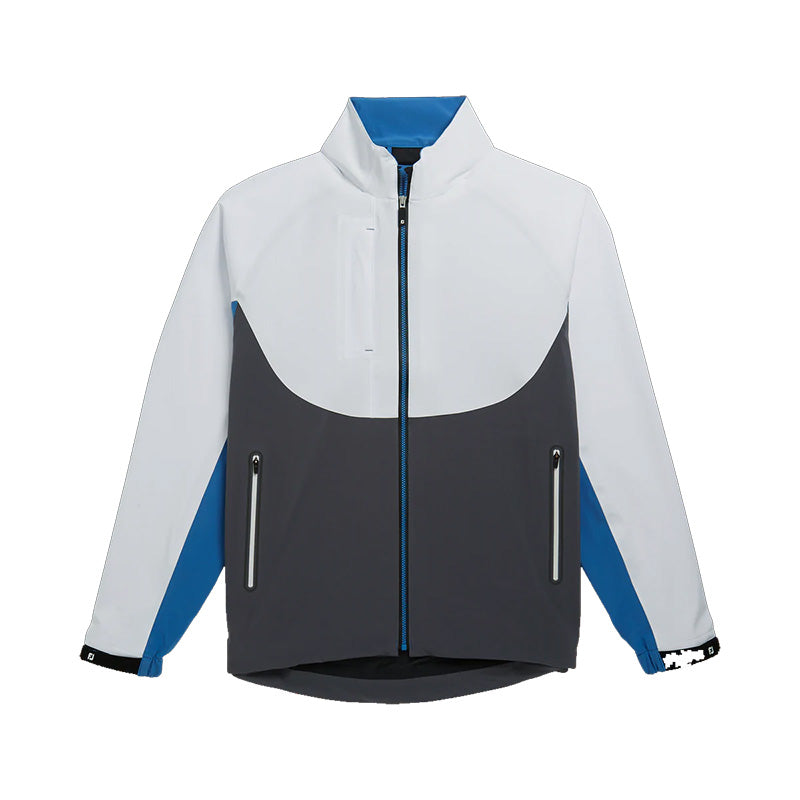 Footjoy DryJoys Tour LTS Jacket - White/Charcoal/Blue - Previous Season Style