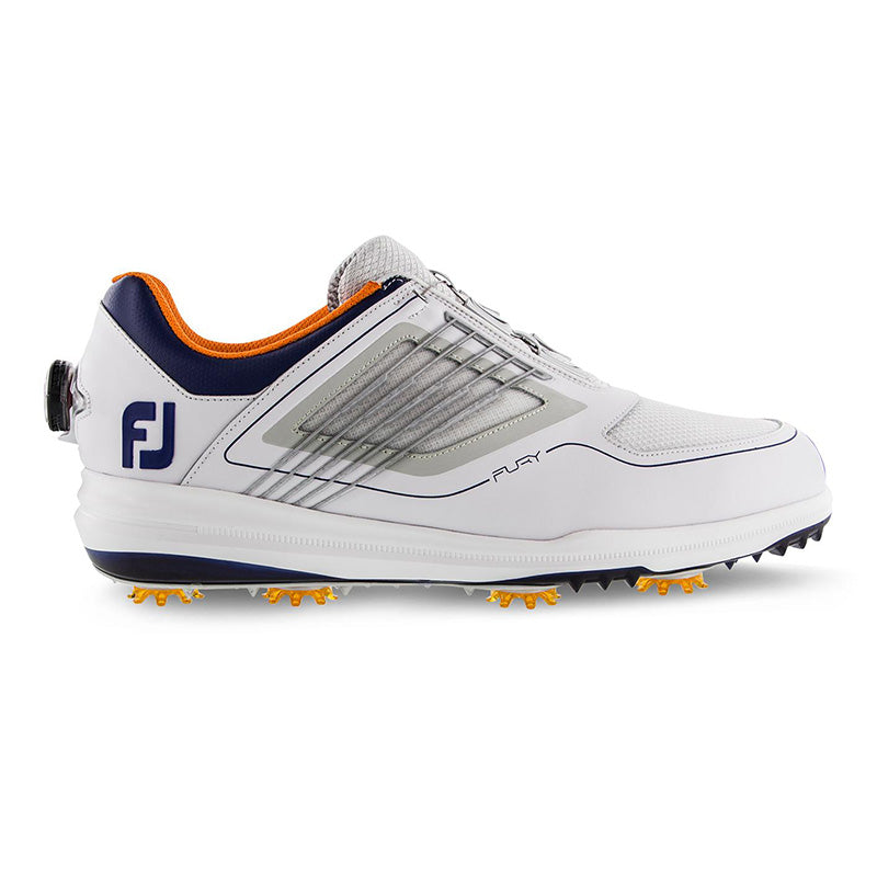 Footjoy Fury Boa Golf Shoes - White/Navy/Orange - Previous Season Style
