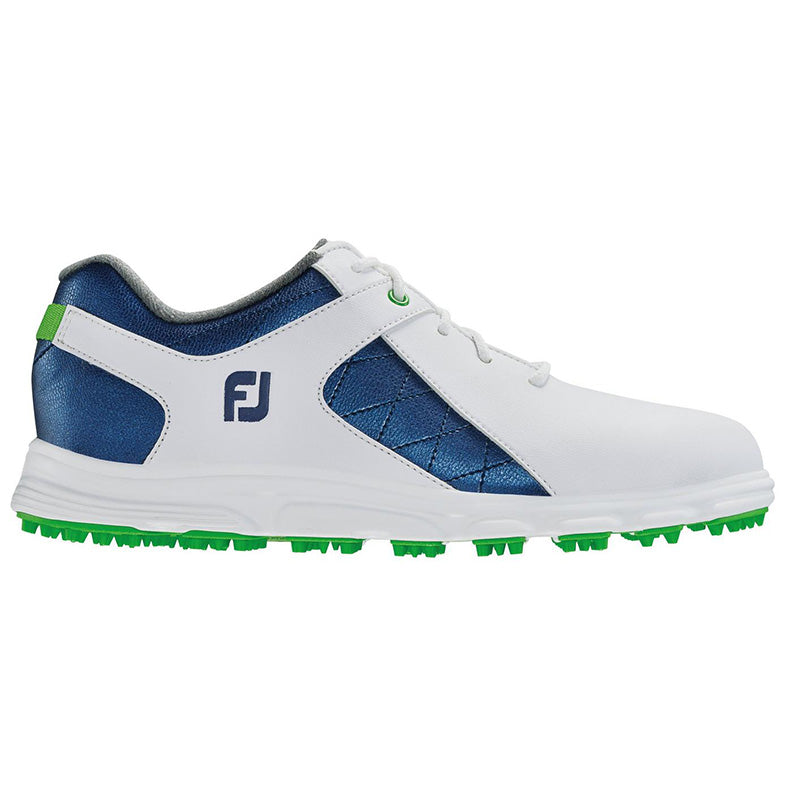 Footjoy Junior Pro SL Golf Shoes - White/Blue - Previous Season Style