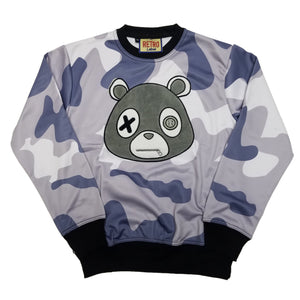 Retro Label Mask Bear Crewneck (Blue Camo)