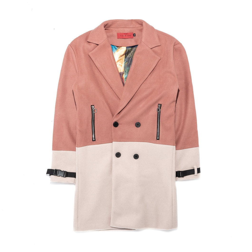 Vie Riche Two Tone Overcoat (Nude)