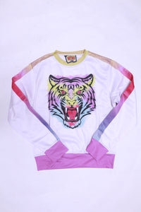 RETRO LABEL Tiger Crewneck (White)