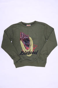 RETRO LABEL Embroidered Blessed Crewneck (Olive)