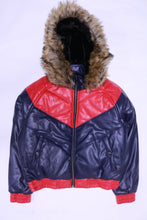 Load image into Gallery viewer, DAKOMA Women Colorblock Leather Jacket W/Fur Hood (Navy/Red)
