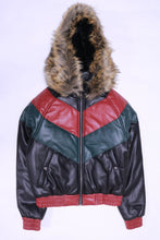 Load image into Gallery viewer, DAKOMA Women Colorblock Leather Jacket W/Fur Hood (Black/Red/Green)