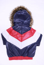 Load image into Gallery viewer, DAKOMA Women Colorblock Leather Jacket W/Fur Hood (Navy/Red/White)