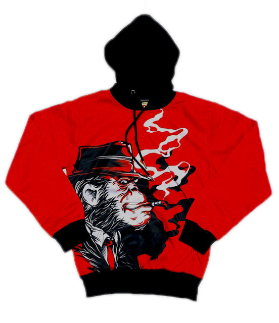 Retro Label Smoking Aces Hoodie (Red)