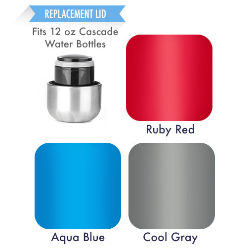 Replacement Lid - 12 oz (350 ml) Mira Brands Cascade Water Bottles - Ruby Red, Aqua Blue & Cool Gray