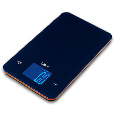 MIRA Digital Easy to Use Kitchen Food Scale | Portable Lightweight Food Scale Measures Grams, Pounds & Ounces Glass Platform Multifunction Scale | TARE function | 11 lb Capacity | Blue